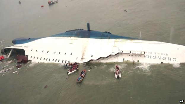 "In this April 16, 2014 file photo, released by South Korea Coast Guard via Yonhap News Agency, South Korean rescue team boats and fishing boats try to rescue passengers of the sinking Sewol ferry, off South Korea""s southern coast,near Jindo, south of Seoul."