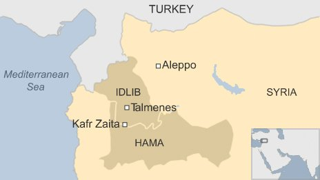 Map showing locations of Talmenes and Kafr Zaita