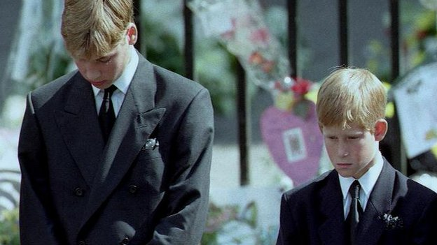 Princes William and Harry at their mother's funeral