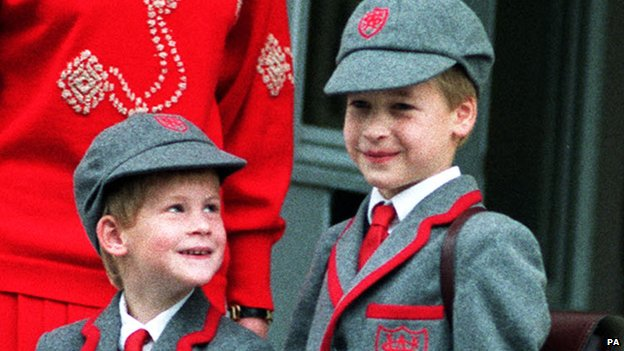 Prince Harry, left, aged five, on his first day at Wetherby School, Notting Hill, London