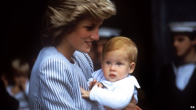 Princess Diana and Prince Harry in August 1985