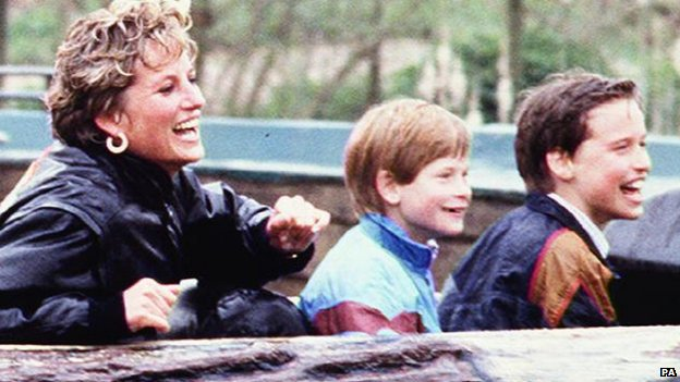 Princess Diana with Prince Harry and Prince William at Thorpe Park in Chertsey, Surrey