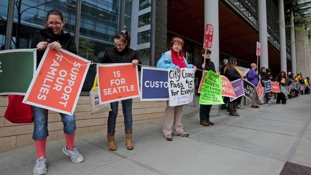 Supporters of a measure to raise the minimum wage to $15 an hour surround City Hall for about 40 minutes Seattle, Washington 23 April 2014