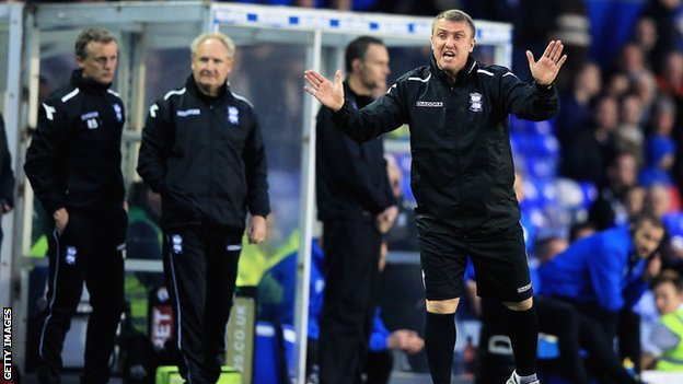 Birmingham City manager Lee Clark tries to keep things calm on the bench at St Andrew's