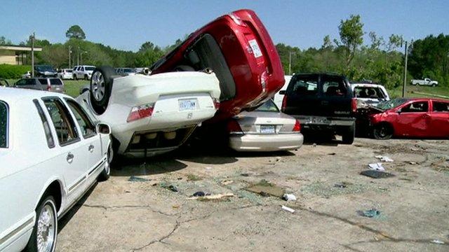 Overturned cars