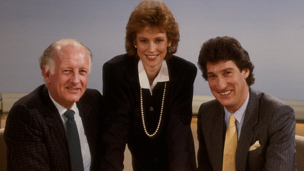 Paxman, right pictured with Frank Bough and Sally Magnusson on BBC Breakfast Time in 1986