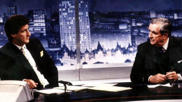 Jeremy Paxman interviews Denis Healey in January 1995
