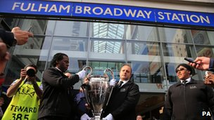 UEFA Champions League trophy outside Fulham Broadway station