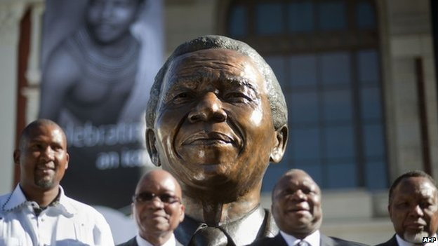 A bust of Nelson Mandela  at the South African Parliamentary grounds on 28 April 2014 in Cape Town, South Africa