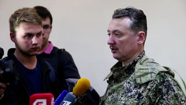 Igor Strelkov, military commander of pro-Russian militias in Slovyansk talks to journalists in Slovyansk, Ukraine, 27 April 2014