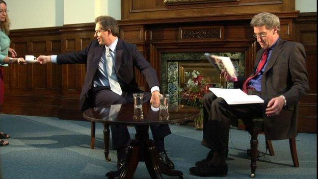 Jeremy Paxman interviews Tony Blair in June 2001