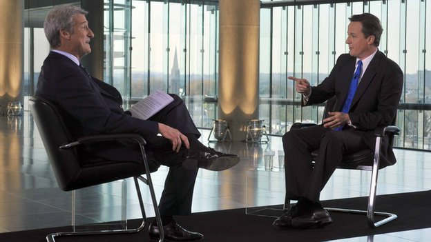Jeremy Paxman interviews David Cameron in April 2010