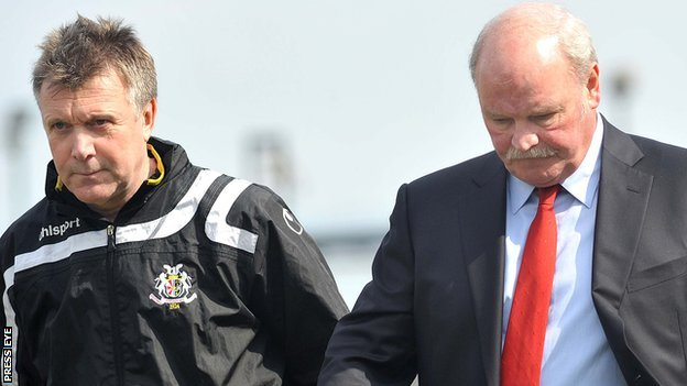 Kieran Harding with Portadown manager Ronnie McFall