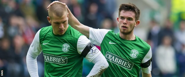 Hibernian players James Collins and Sam Stanton
