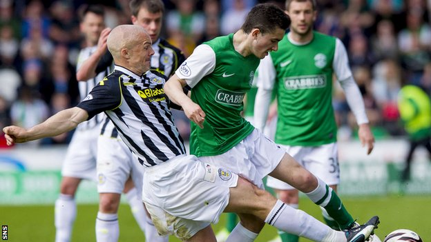 Jim Goodwin in action for St Mirren against Hibernian