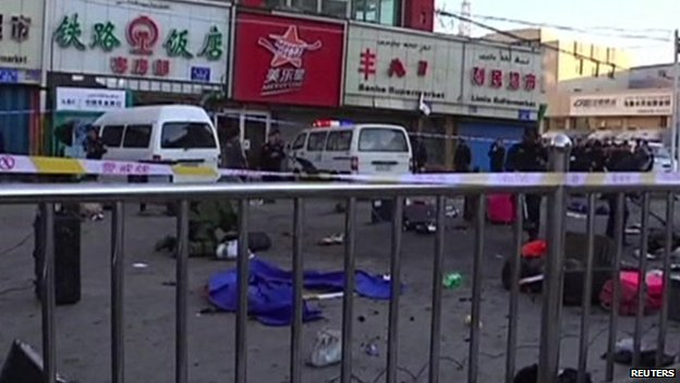 Blast scene outside Urumqi's south railway station