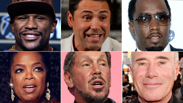 Clockwise from top left: Boxers Floyd Mayweather and Oscar De La Hoya, singer Sean Combs, media mogul David Geffen, billionaire Frank Ellison and Oprah Winfrey