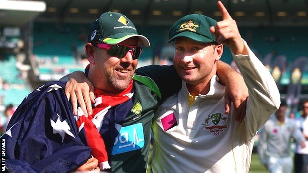 Darren Lehmann (left) and Michael Clarke