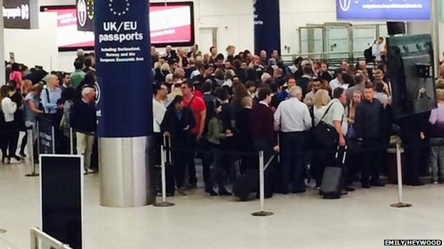 Queuing passengers at Gatwick Airport