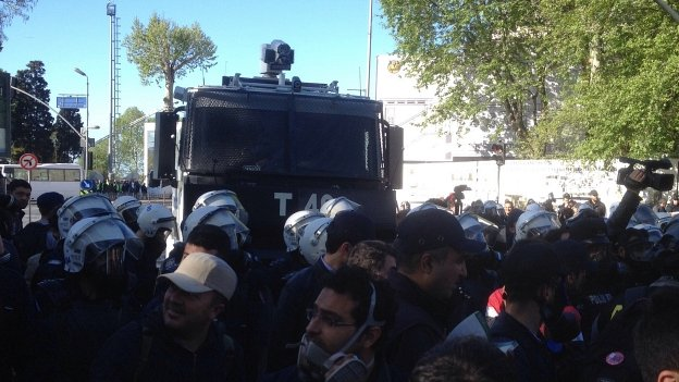Police line and water cannon in Besiktas 01/05/2014