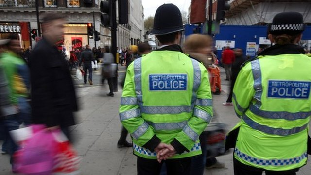 Police patrol Oxford Street, London