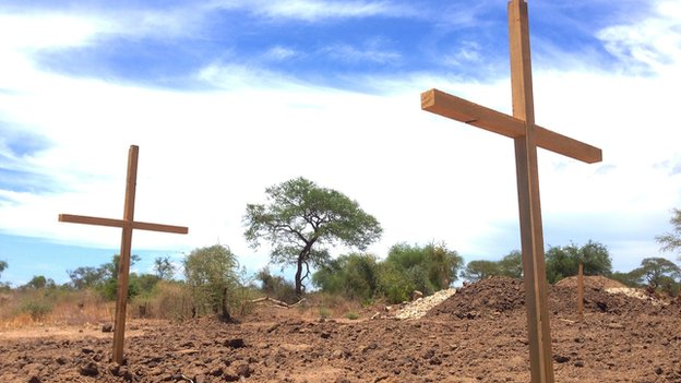 A mass grave pictured in Bor, South Sudan