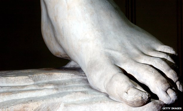 The left foot of Michelangelo's David