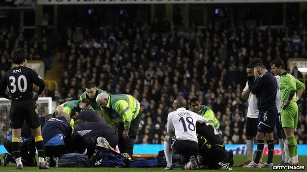 Fabrice Muamba receives CPR treatment