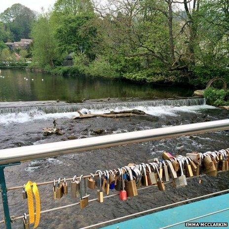 Love locks on a bridge in Bakewell