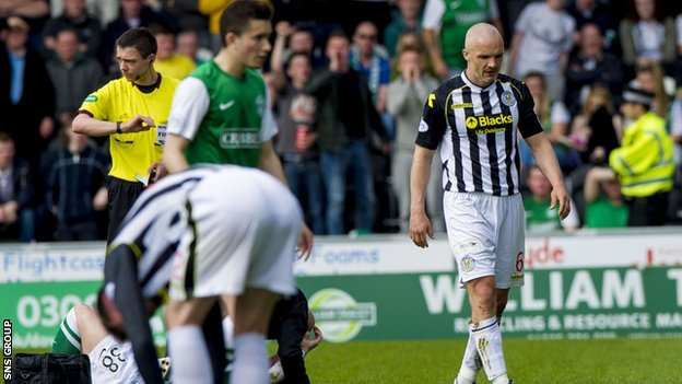 St Mirren captain Jim Goodwin was sent off against Hibs on 20 April