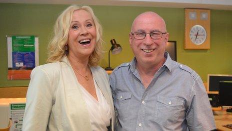 Agnetha Faltskog and Ken Bruce in the studio
