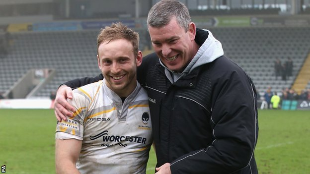 Worcester boss Dean Ryan congratulates Chris Pennell for the starring role he played in the Warriors' first win of the season at Newcastle on 30 March