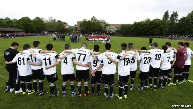 Team-mates, friends and relatives gather to remember Diren Dede at his football club, SC Teutonia 1910,  Hamburg, Germany 30 April 2014