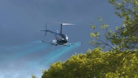 Helicopter spraying near Pangbourne