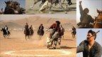 Collection of photos of men playing Buzkashi