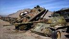 Abandoned Soviet tanks litter the Afghan countryside