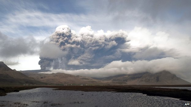 The Eyjafjallajokull volcano spews ash on 5 May 2010, near the town of Hvolsvollur