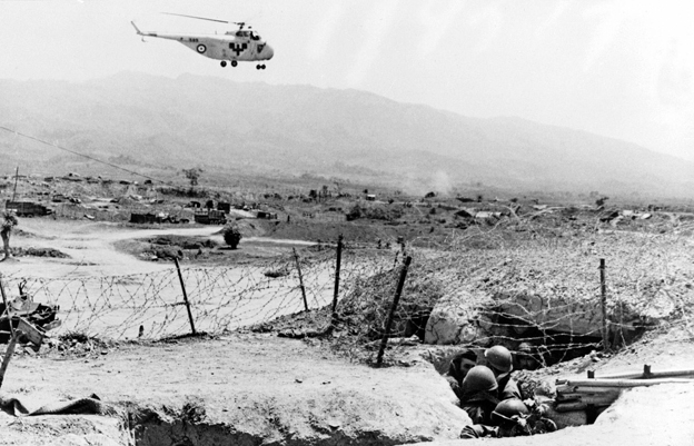 Red Cross helicopter flies to French positions at Dien Bien Phu