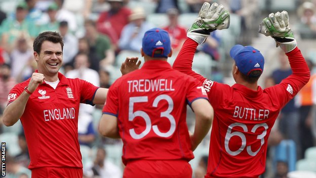 James Anderson, James Tredwell and Jos Buttler