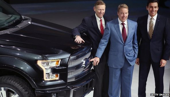 Ford F150 pick up truck, Alan Mulally, Bill Ford, and Mark Fields