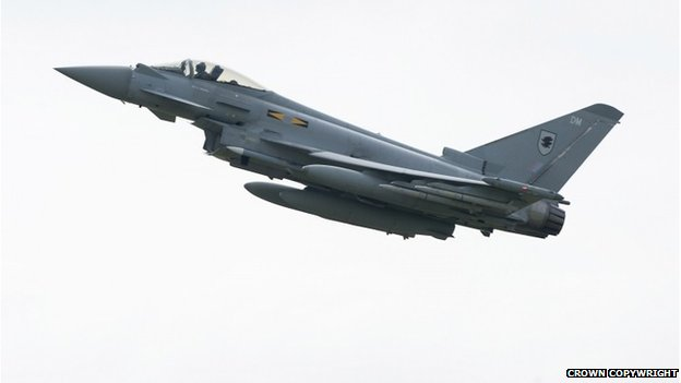 A RAF Typhoon fighter jet