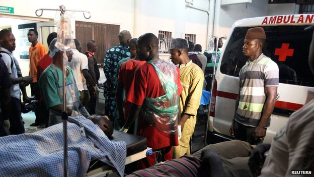 People who were injured are on stretchers at Asokoro general hospital in Abuja on 1 May 2014