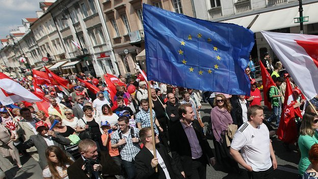 Trade union march in Warsaw, 1 May 14