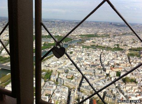 Love lock on summit of the Eiffel Tower