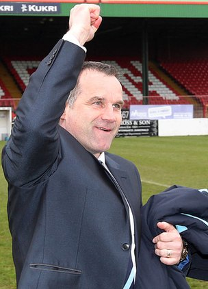 Ballymena boss Glenn Ferguson celebrates the semi-final win over Queen's