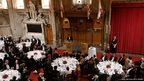 Japanese Prime Minister Shinzo Abe delivers a speech at the Guildhall in London