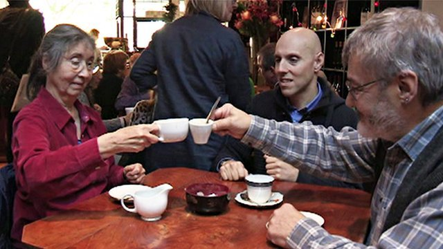 Lydia Handscomb and Dr Edmondson clink tea cups