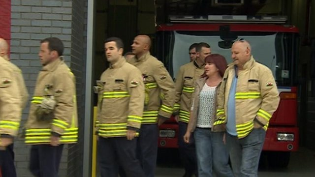 Firefighters walk out at Cardiff Central Station
