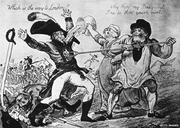 Cartoon from Napoleonic era depicting British yeoman repulsing Bonaparte
