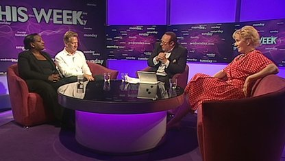 Dine Abbott, Michael Portill, Andrew Neil and Christine Hamilton
